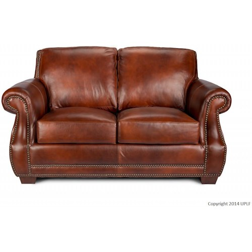USA Premium Leather 5751 Traditional Leather Loveseat with Nailhead Trim