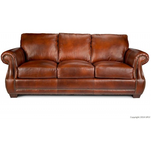 USA Premium Leather 5751 Traditional Leather Sofa with Nailhead Trim