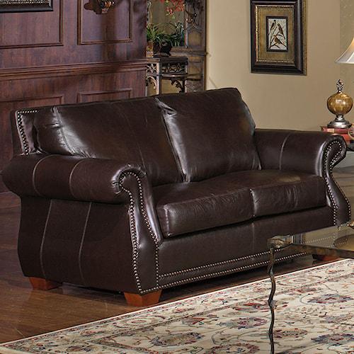 USA Premium Leather 5750 Love Seat w/ Nailhead Trimming