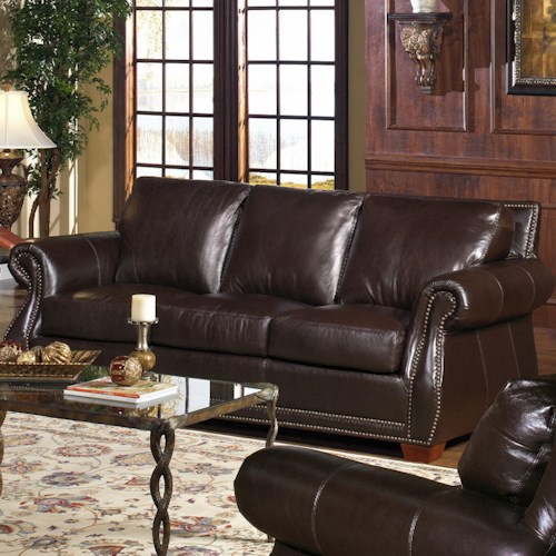 USA Premium Leather 5750 Stationary Sofa w/ Nailhead Trimming