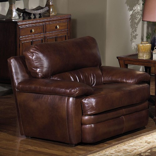 USA Premium Leather 5855 Upholstered Leather Chair with Pillow Arms