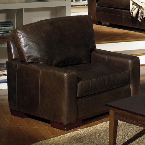 USA Premium Leather 5925 Contemporary Leather Chair with Square Track Arms