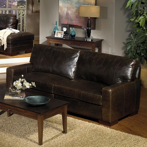 USA Premium Leather 5925 Contemporay Leather Sofa with Square Track Arms
