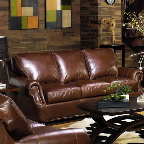 Usa Premium Leather 6355 Traditional Sofa With Rolled Arms