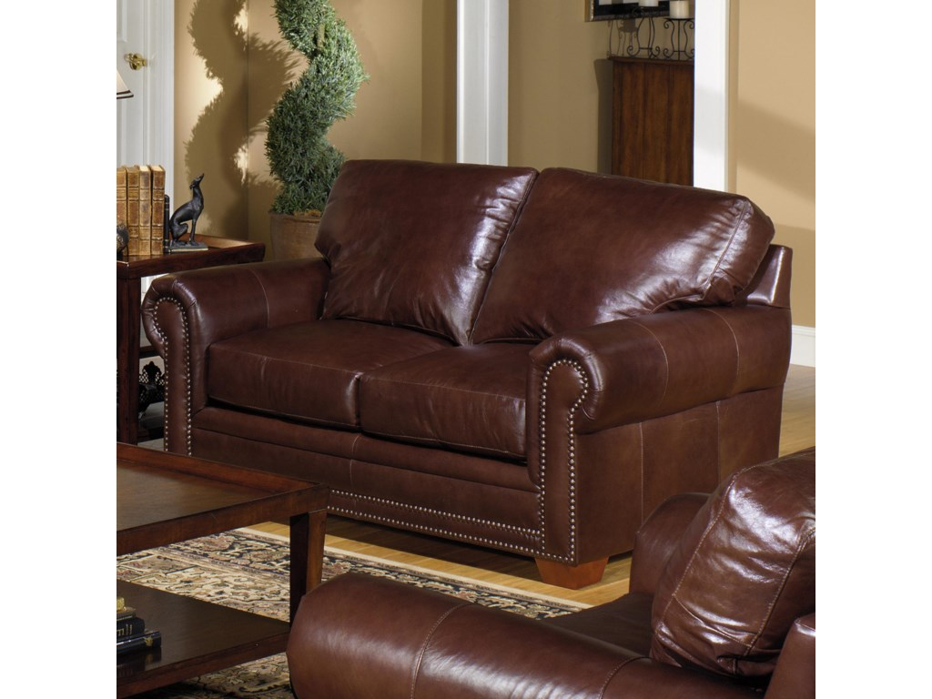 7855 traditional leather stationary loveseat with nailhead trim by usa premium leather