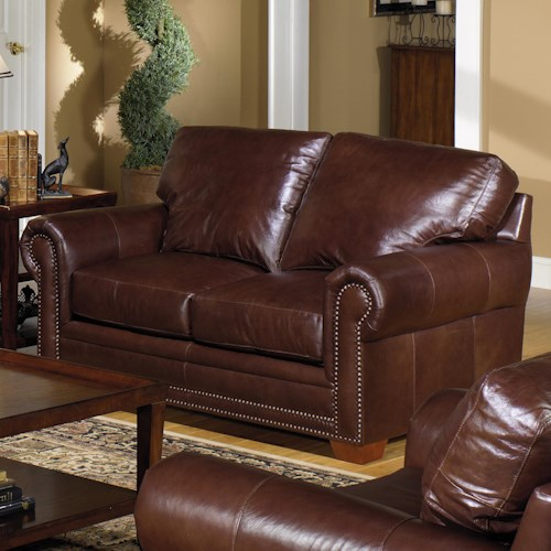 USA Premium Leather 7855 Traditional Leather Stationary Loveseat with Nailhead Trim