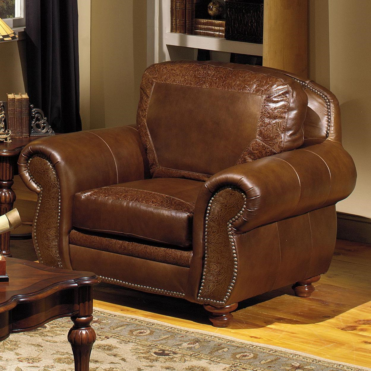 USA Premium Leather 8555 Traditional Leather Chair with Nailhead Trim & USA Premium Leather 8555 Traditional Leather Chair with Nailhead ...