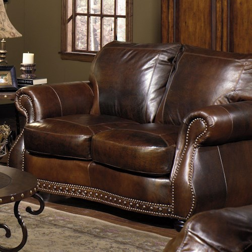 USA Premium Leather 8755 Loveseat w/ Nail Head Trimming