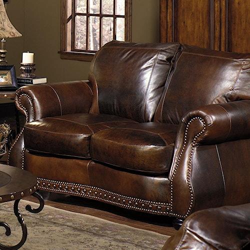 USA Premium Leather 8755 Loveseat w/ Nail Head Trimming