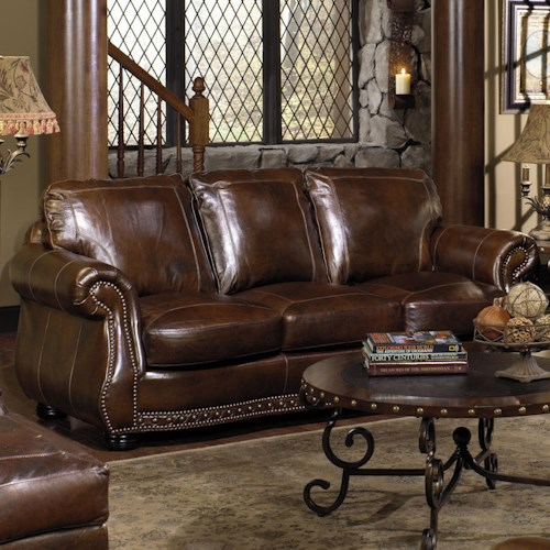 USA Premium Leather 8755 Stationary Sofa w/ Nailhead Trimming