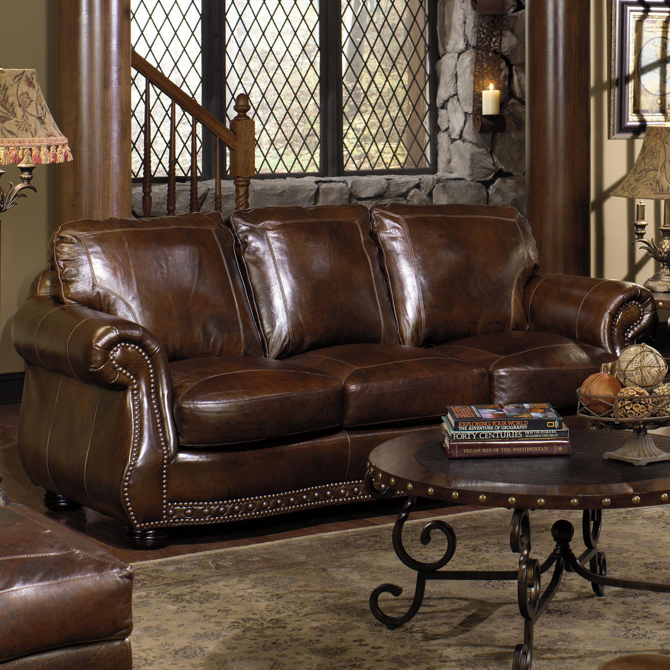 Awesome USA Premium Leather 8755 Stationary Sofa W/ Nailhead Trimming
