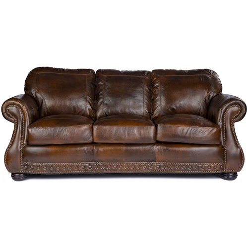 Usa Premium Leather 8755 Stationary Sofa W Nailhead T