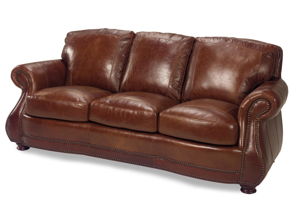 USA Premium Leather 9055 Traditional Roll Arm Sofa W/ Alligator - Miskelly  Furniture - Sofa