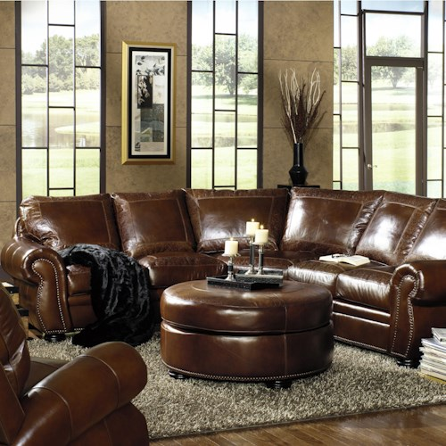 USA Premium Leather 9455 Traditional Sectional With