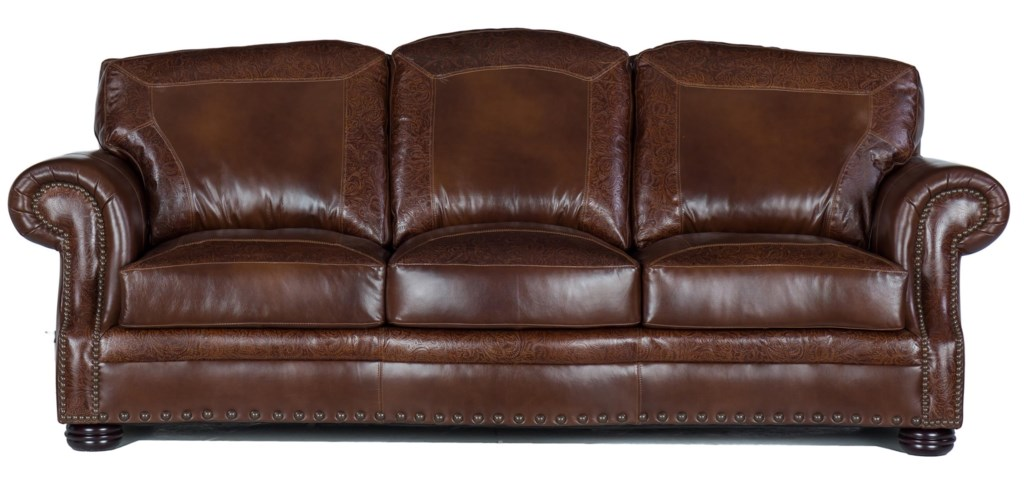 Usa Premium Leather 9750 Traditional Leather Sofa With Nailheads  ~ Leather Sofa With Nailheads