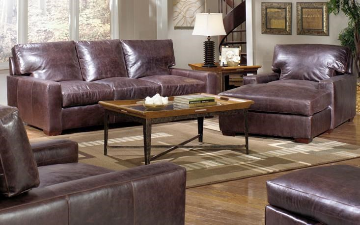 ... USA Premium Leather 9955 Leather Sofa. Shown With Leather Chaise And  Armchair With Ottoman In The Foreground