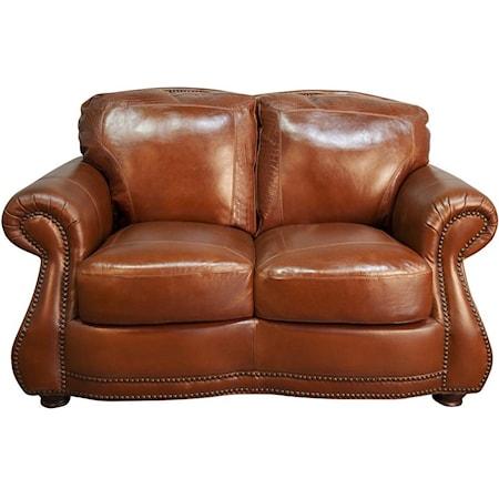 Rhodas Top Grain 100% Leather Loveseat