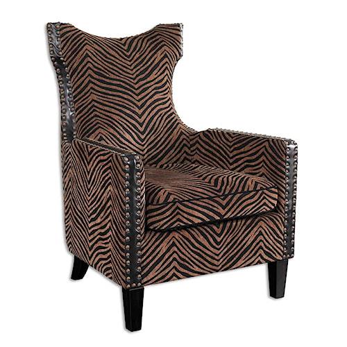 Uttermost Accent Furniture Kimoni Transitional Zebra Print Armchair