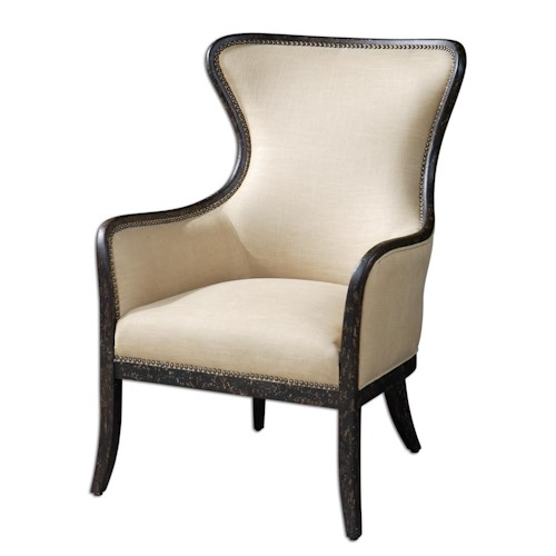 Uttermost Accent Furniture Zander Contemporary Wing Chair