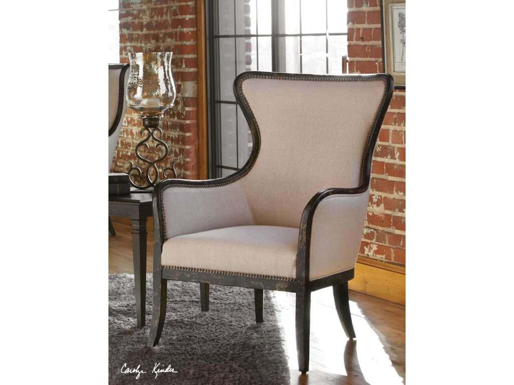 Uttermost Accent Furniture - Accent ChairsSandy Wing Chair