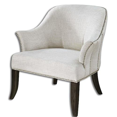 Uttermost Accent Furniture Leisa White ArmChair