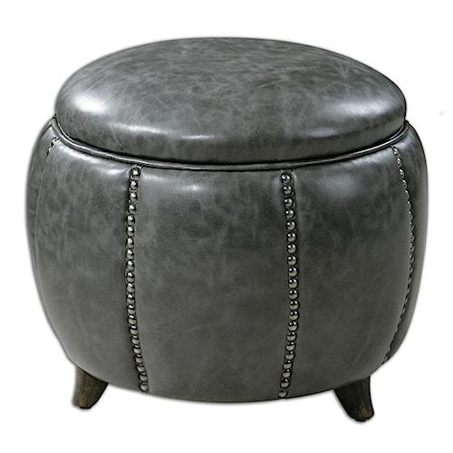 Uttermost Accent Furniture Linford Round Storage Ottoman