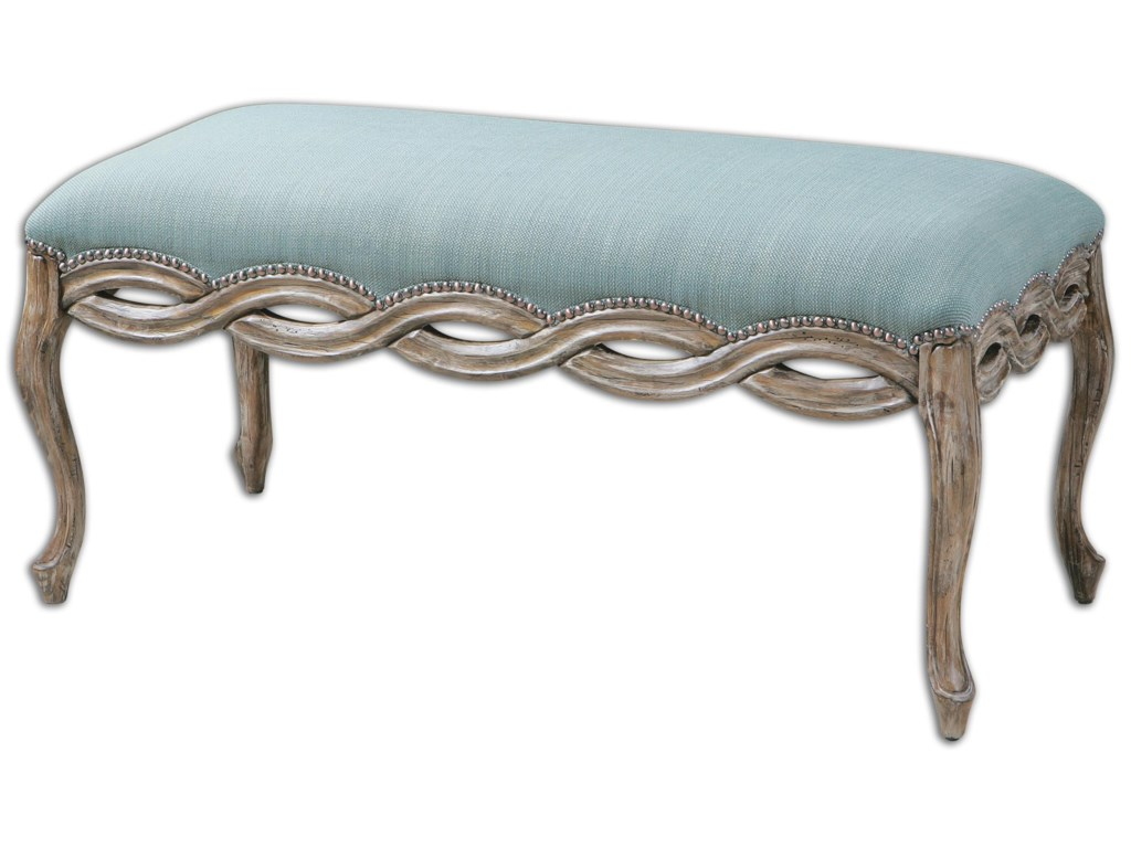 Uttermost Accent Furniture - BenchesKylia Sky Blue Bench