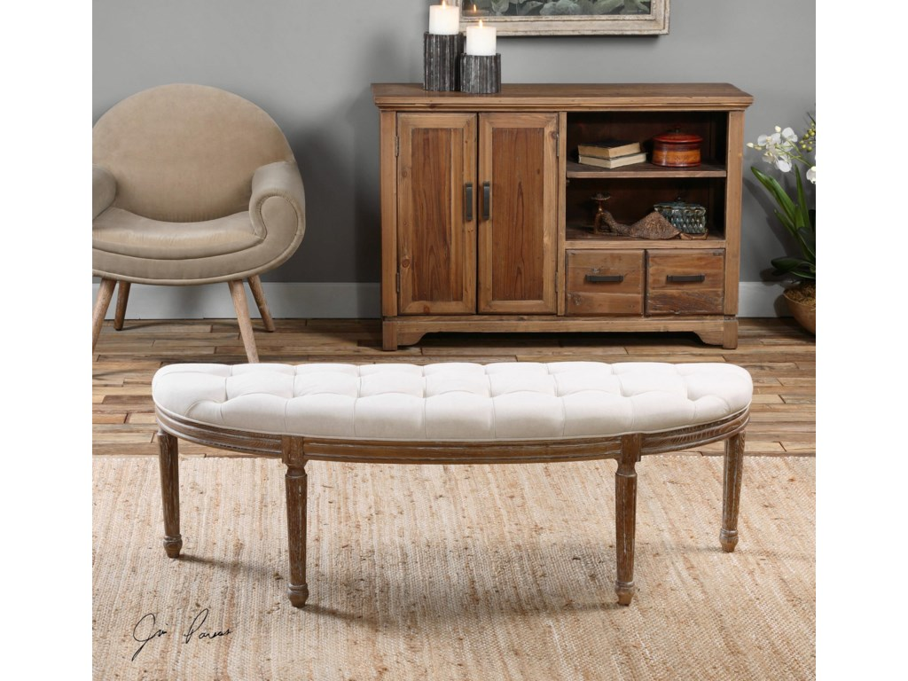 Uttermost Accent FurnitureLeggett Tufted White Bench