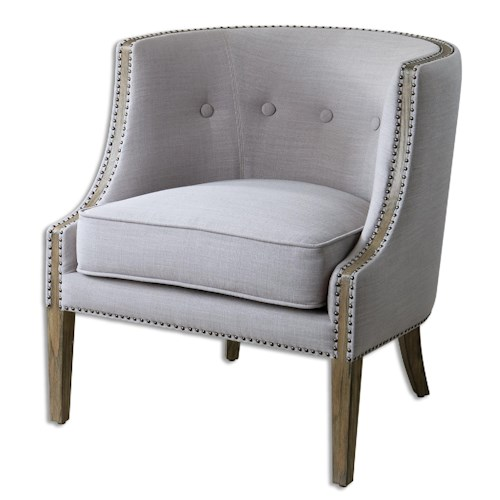Uttermost Accent Furniture Gamila Light Gray Accent Chair
