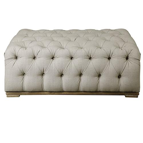 Uttermost Accent Furniture Kaniel Tufted Antique White Ottoman