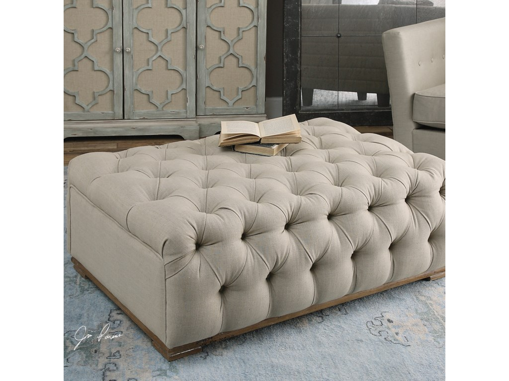 Uttermost Accent Furniture - OttomansKaniel Tufted Antique White Ottoman