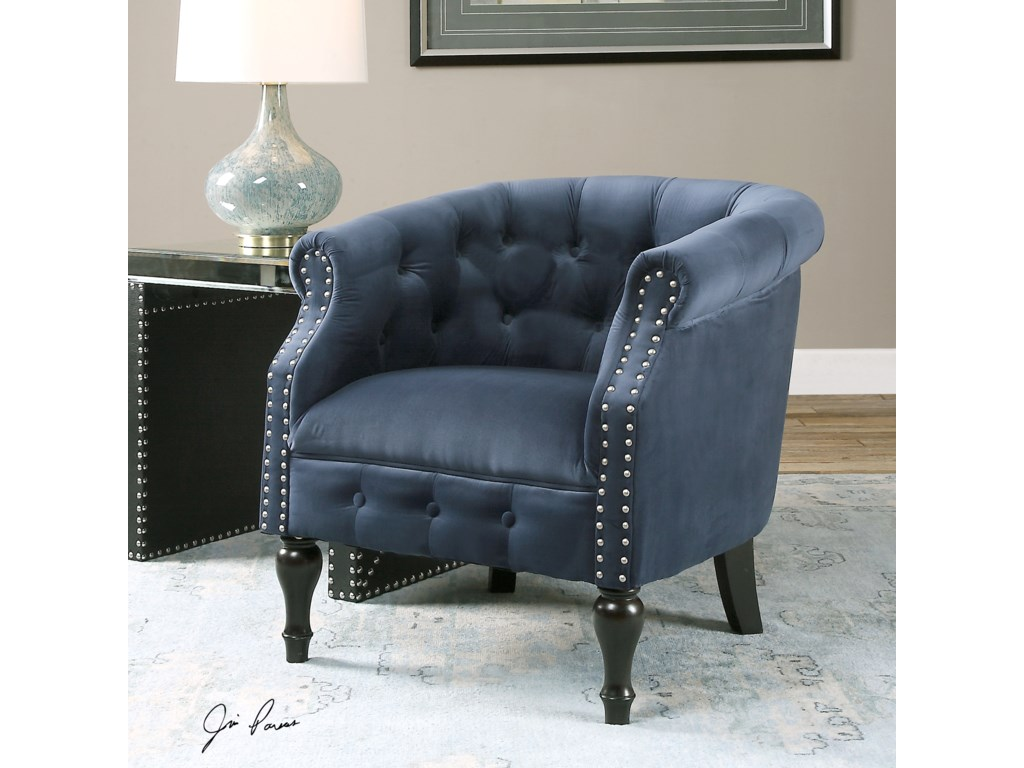 Uttermost Accent FurnitureAviana Blue Velvet Armchair