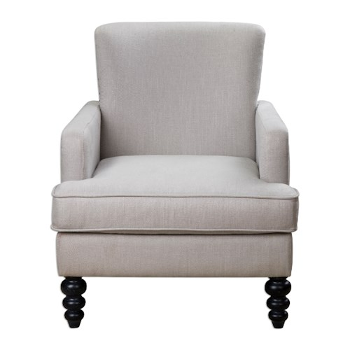 Uttermost Accent Furniture Flannan White Textured Armchair