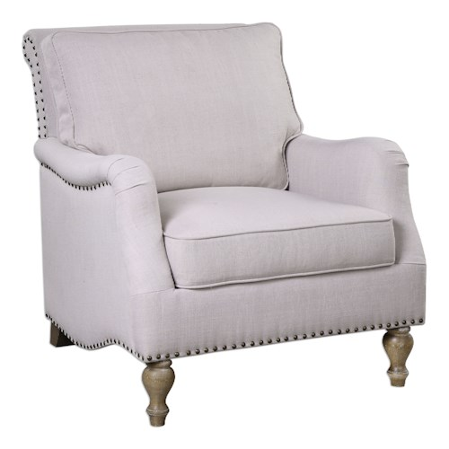 Uttermost Accent Furniture Armstead Antique White Armchair