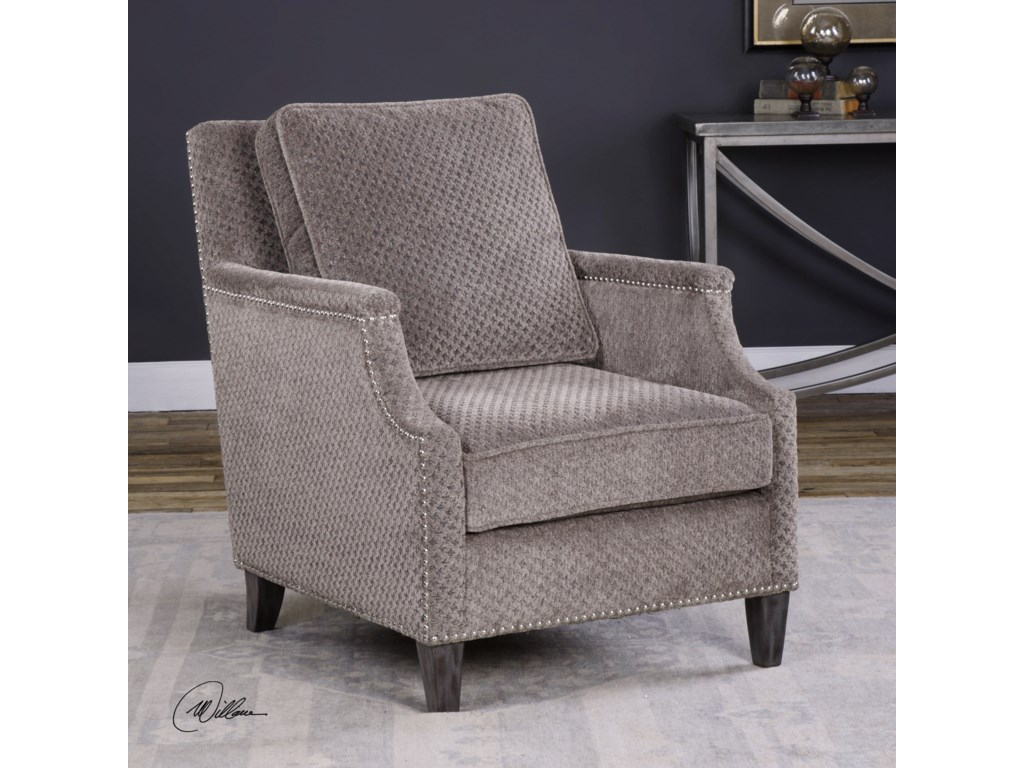 Uttermost Accent Furniture - Accent ChairsDallen Pewter Gray Accent Chair