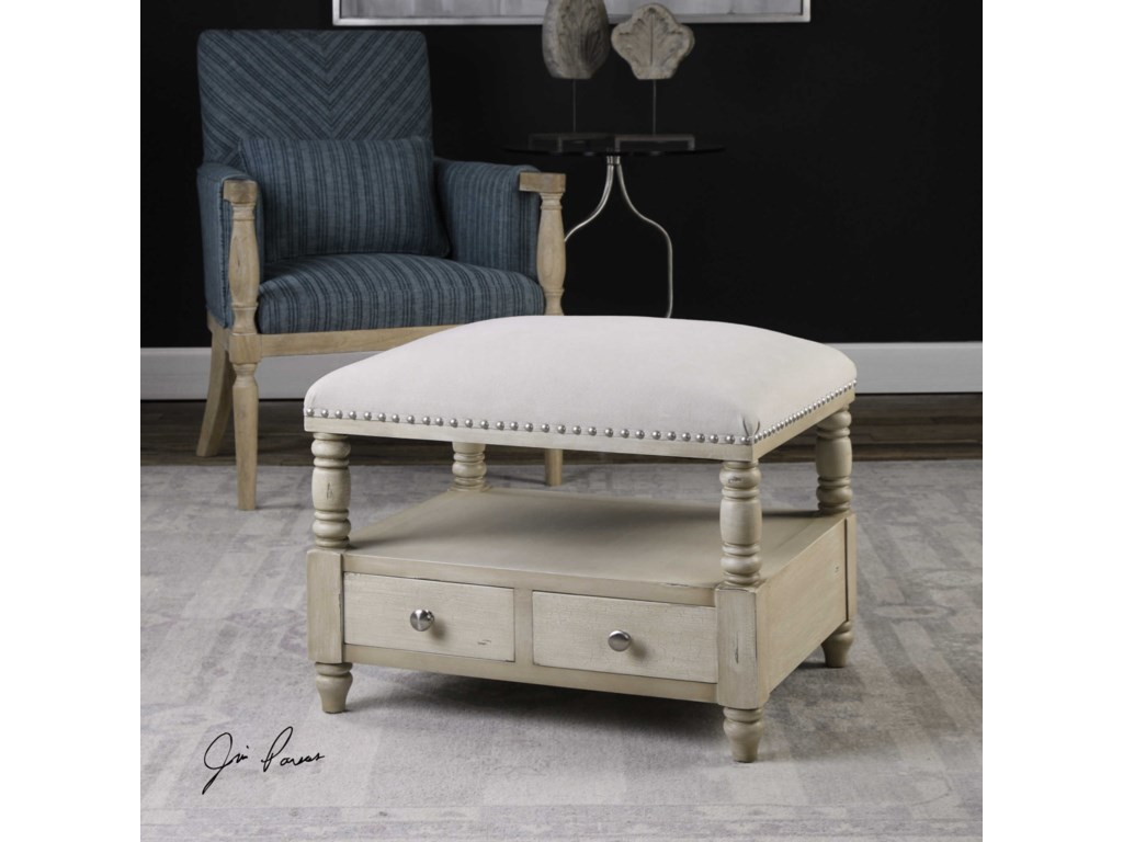 Uttermost Accent FurnitureBailor White Canvas Bench