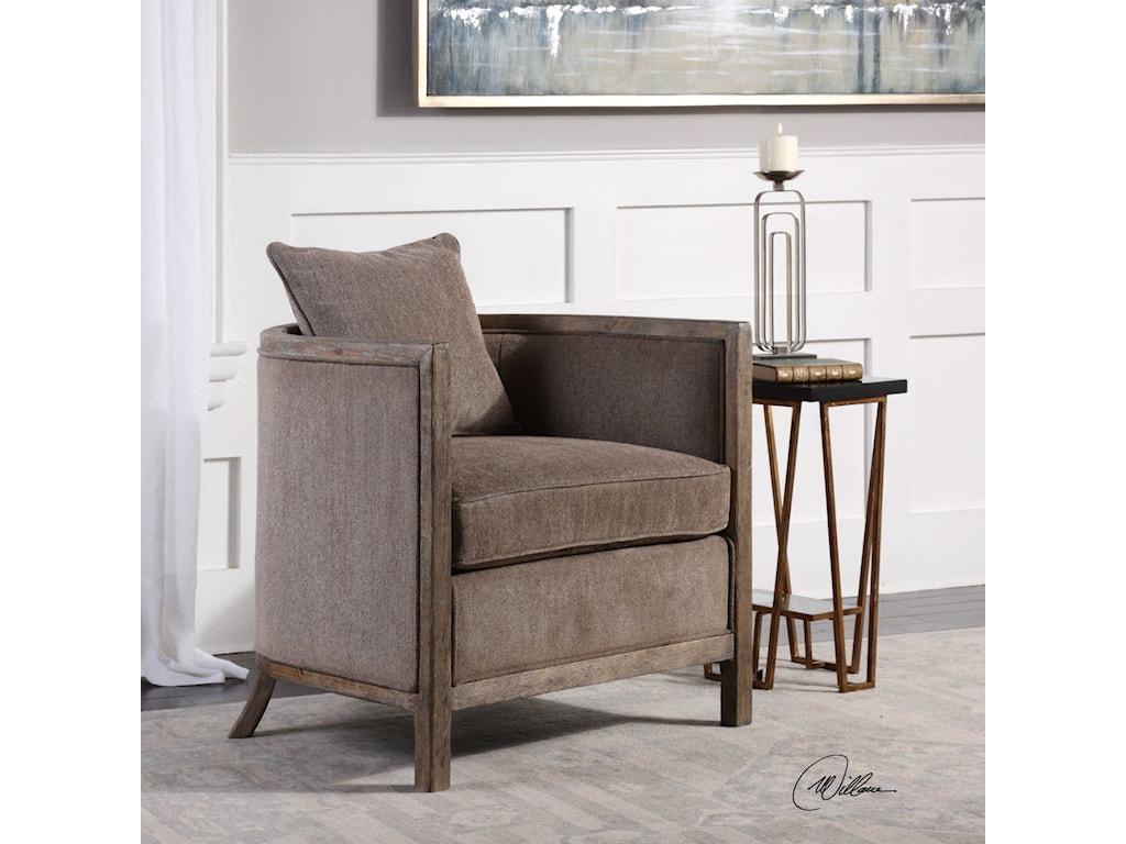 Uttermost Accent FurnitureViaggio Gray Chenille Accent Chair