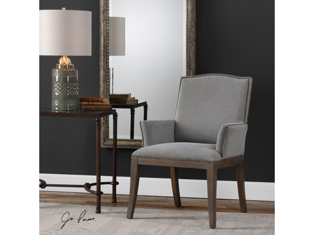 Uttermost Accent Furniture - Accent ChairsLantry Stony Gray Accent Chair