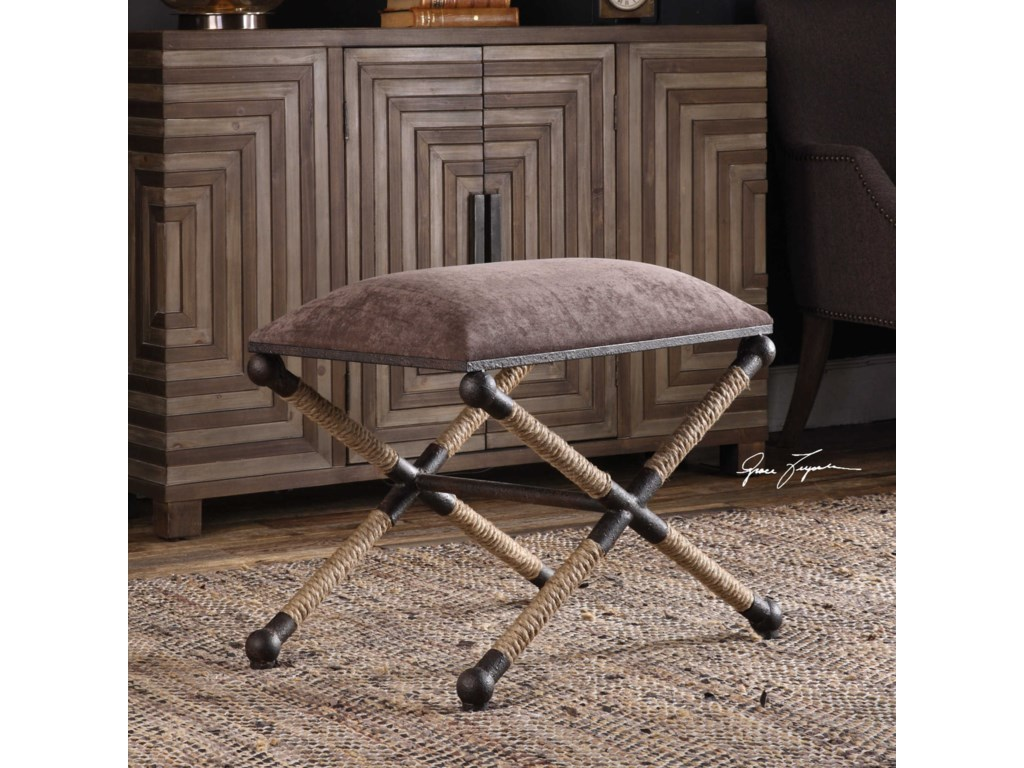 Uttermost Accent Furniture - OttomansEvert Taupe Brown Accent Stool