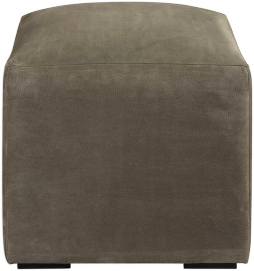Uttermost Accent Furniture Graves Gray Leather Ottoman
