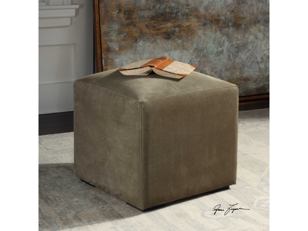 Uttermost Accent FurnitureGraves Gray Leather Ottoman