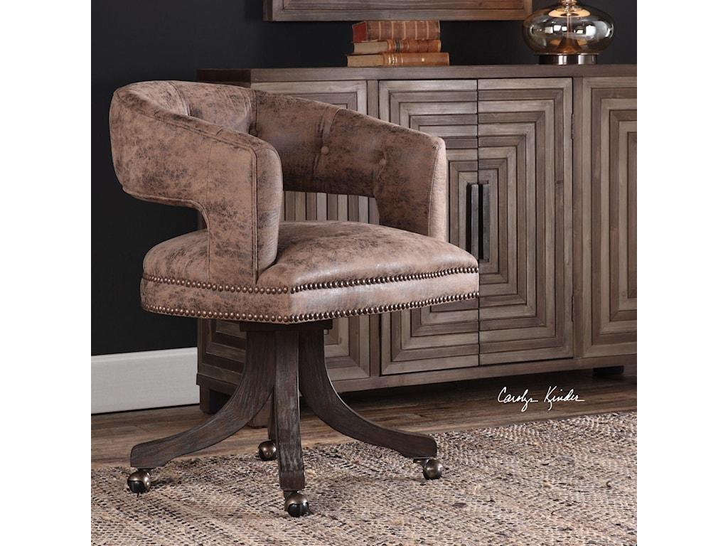 Uttermost Accent FurnitureWaylon Cocoa Brown Swivel Chair