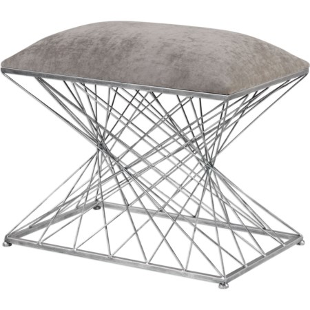 Zelia Silver Accent Stool