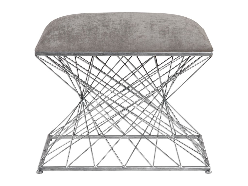 Uttermost Accent Furniture - BenchesZelia Silver Accent Stool