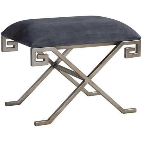 Uttermost Accent Furniture Liddell Indigo Blue Small Bench