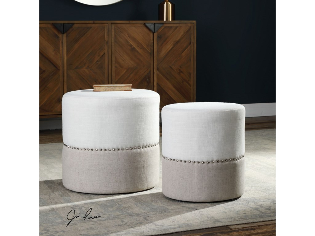 Uttermost Accent FurnitureTilda Two-Toned Nesting Ottomans