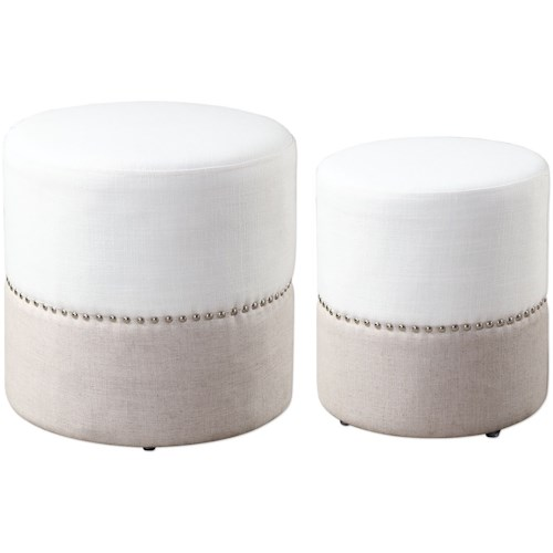 Uttermost Accent Furniture Tilda Two-Toned Nesting Ottomans S/2