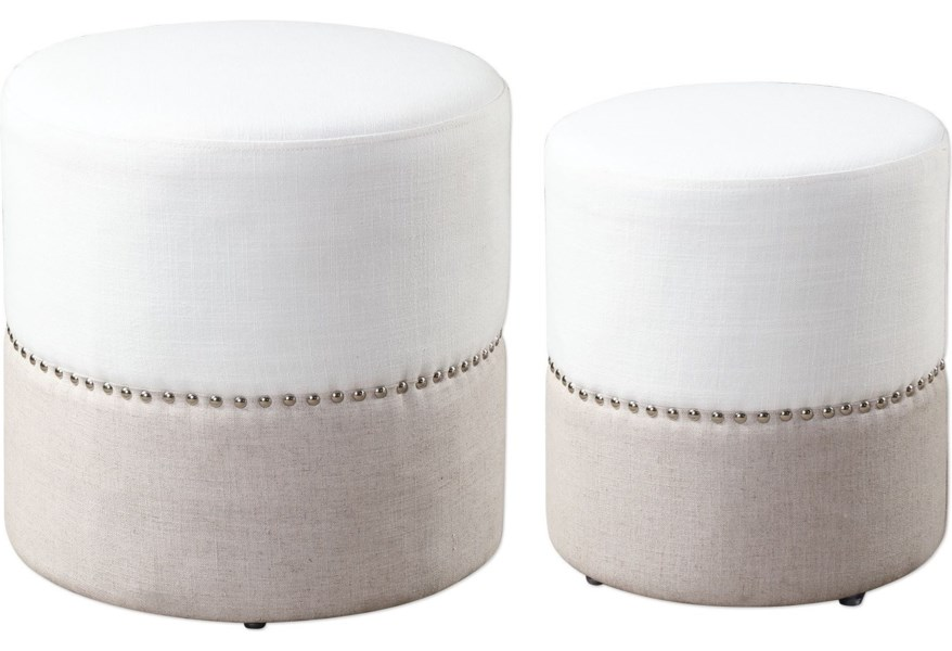 Uttermost Accent Furniture Ottomans Tilda Two Toned Nesting