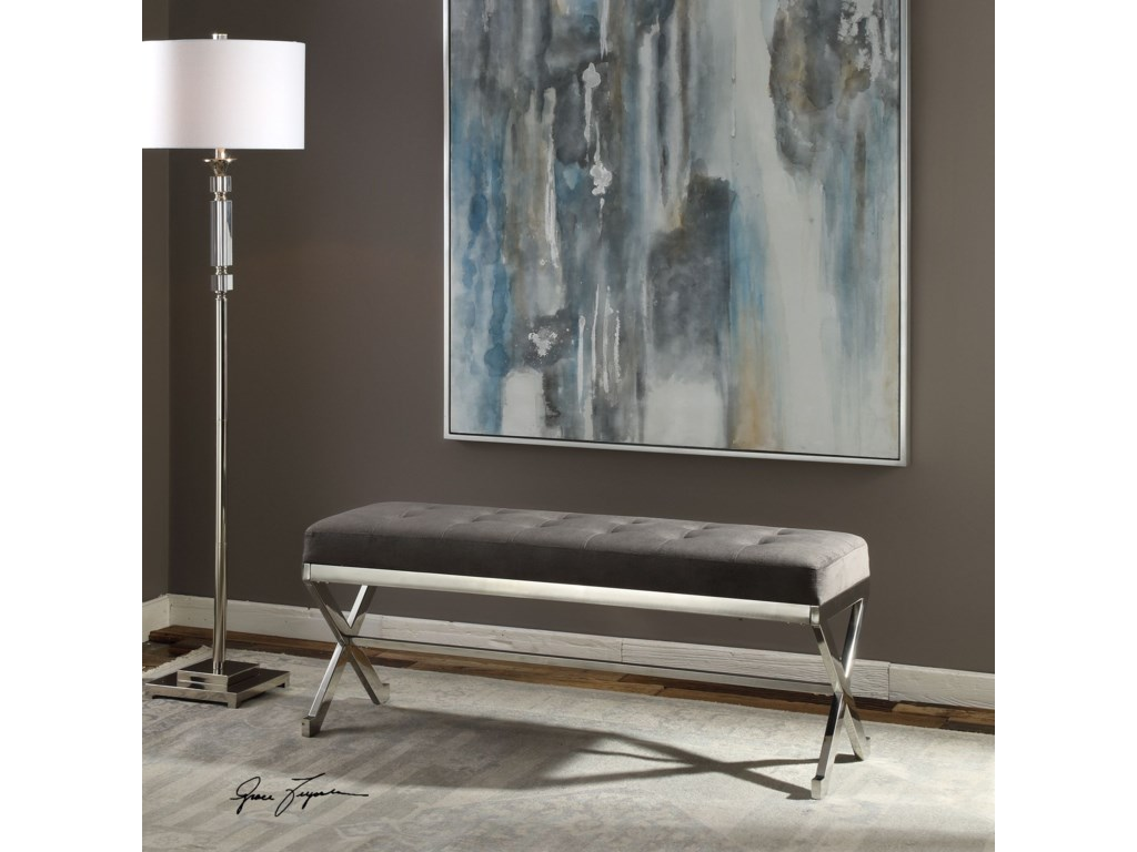 Uttermost Accent FurnitureBijou Gray Fabric Bench