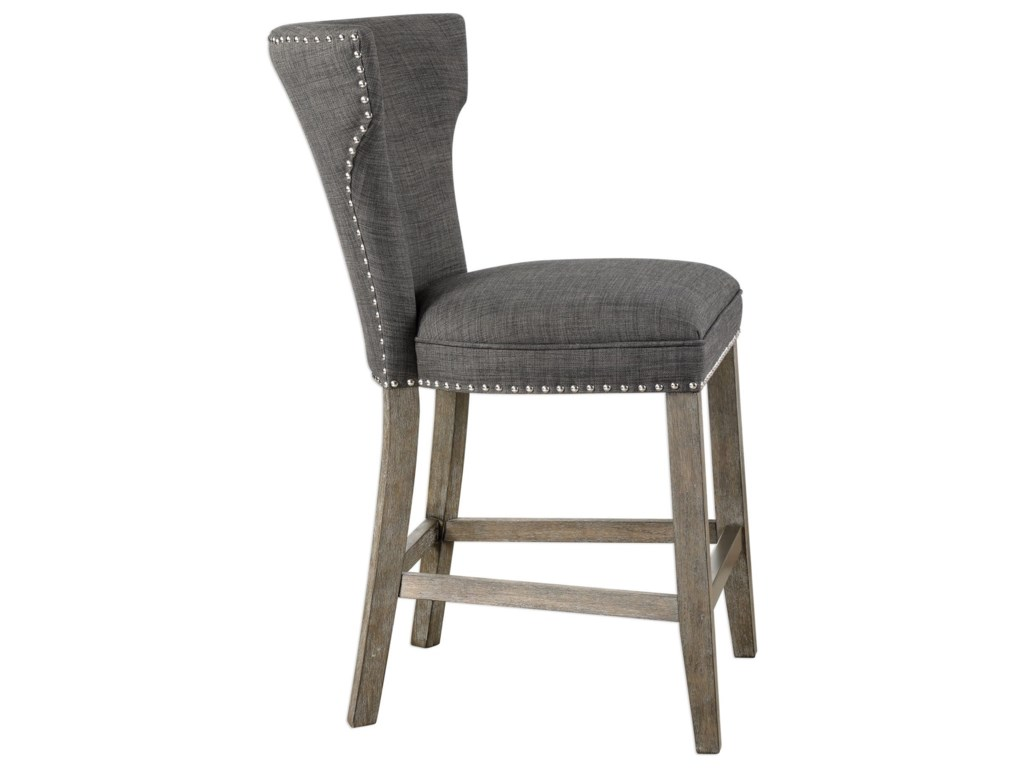 Uttermost Accent FurnitureArnaud Charcoal Counter Stool